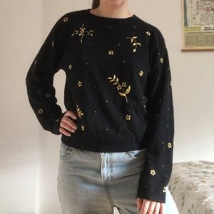 Embroidered beaded black sweater